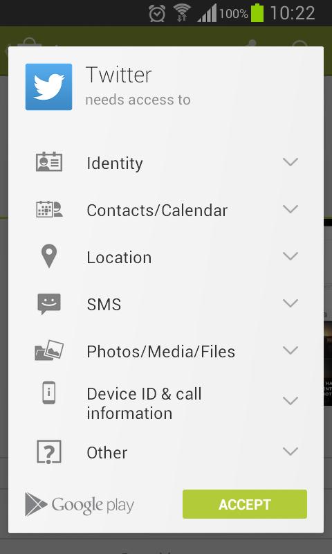 Google Play permissions list style update | Lyubomir Ganev